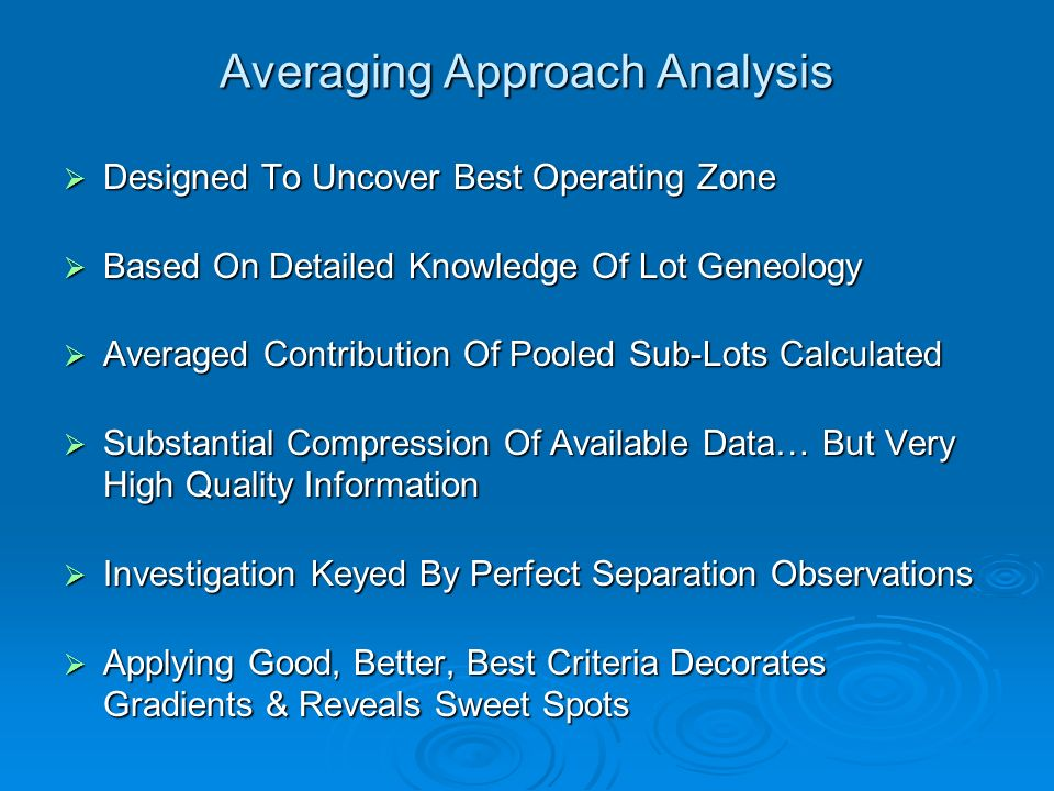 Averaging Approach Analysis Designed To Uncover Best Operating Zone Designed To Uncover Best Operating Zone Based On Detailed Knowledge Of Lot Geneolo