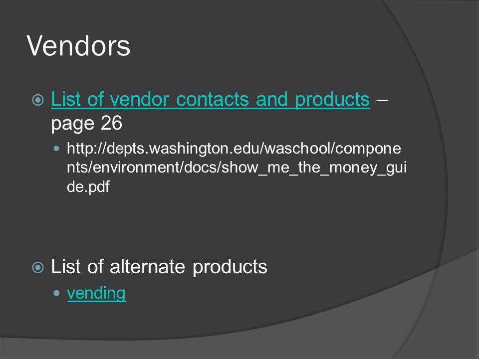 Vendors List of vendor contacts and products – page 26 List of vendor contacts and products http://depts.washington.edu/waschool/compone nts/environment/docs/show_me_the_money_gui de.pdf List of alternate products vending