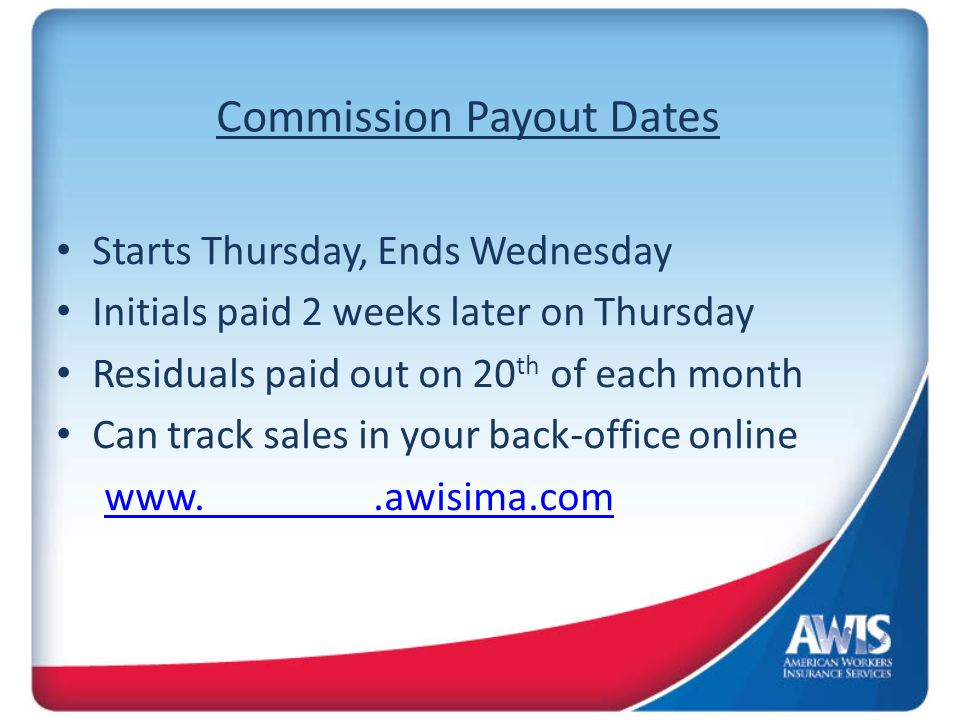 Compensation Commissionable Value(CV) ($69.95) x 50% = $34.97 x 20% = $6.99 Per Month ($149.95) x 70% = $104.96 x 20% = $20.99 Per Month 80% of One-Time Application Fee $60 Application Fee x 80% = $48 $100 Application Fee x 80% = $80