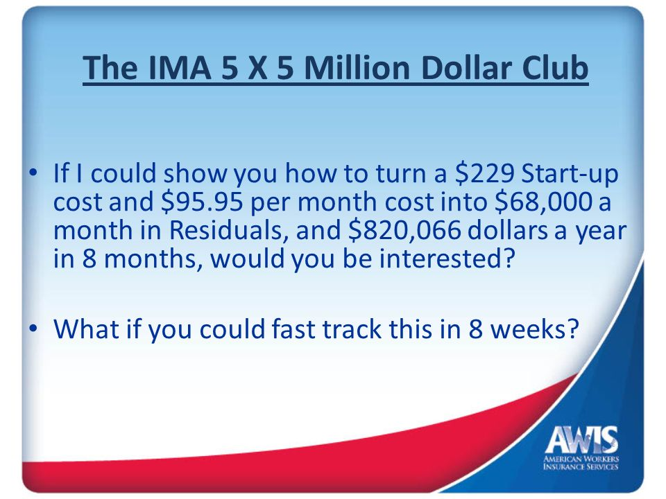 The IMA 5 X 5 Million Dollar Club If I could show you how to turn a $229 Start-up cost and $95.95 per month cost into $68,000 a month in Residuals, an