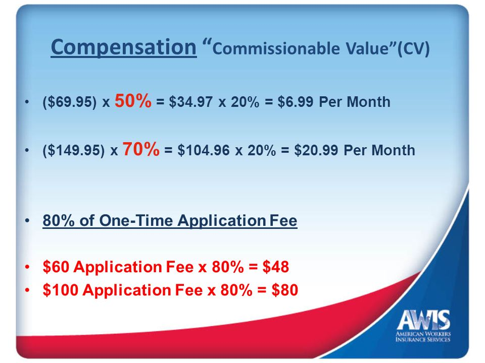 Compensation Commissionable Value(CV) ($69.95) x 50% = $34.97 x 20% = $6.99 Per Month ($149.95) x 70% = $104.96 x 20% = $20.99 Per Month 80% of One-Ti