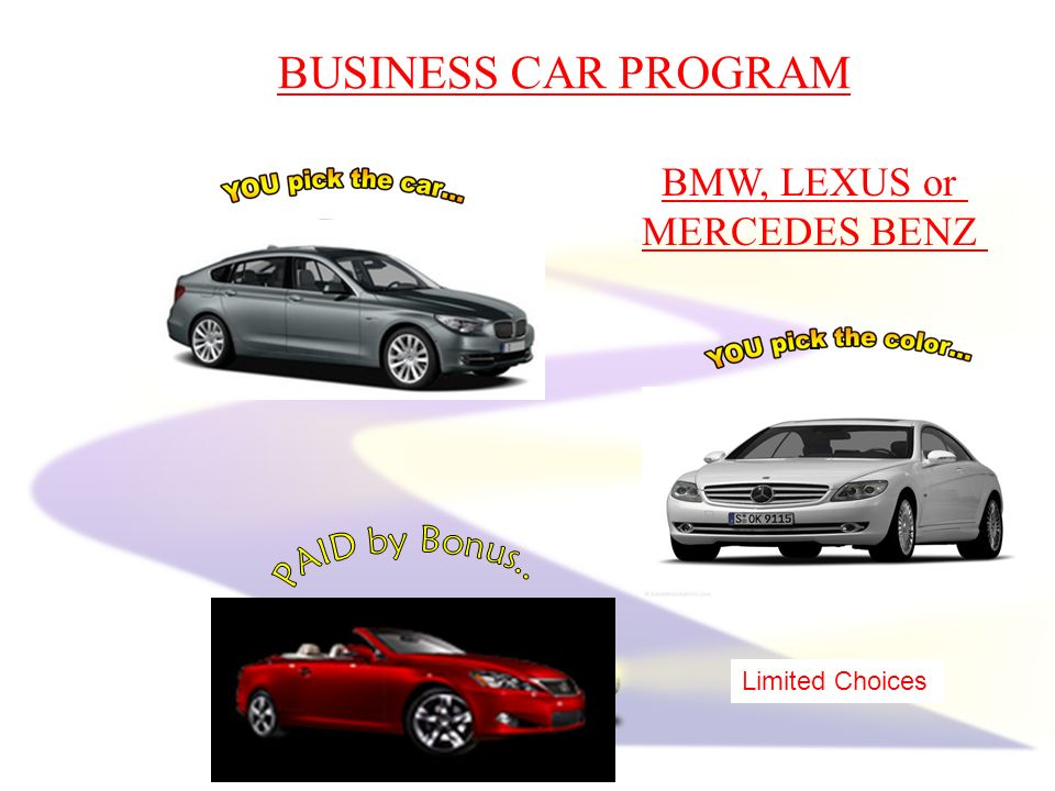 BMW, LEXUS or MERCEDES BENZ BUSINESS CAR PROGRAM Limited Choices