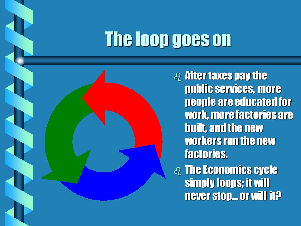 The loop goes on b After taxes pay the public services, more people are educated for work, more factories are built, and the new workers run the new factories.