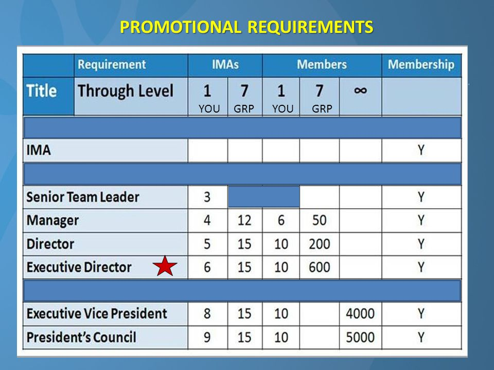 PROMOTIONAL REQUIREMENTS YOU GRP