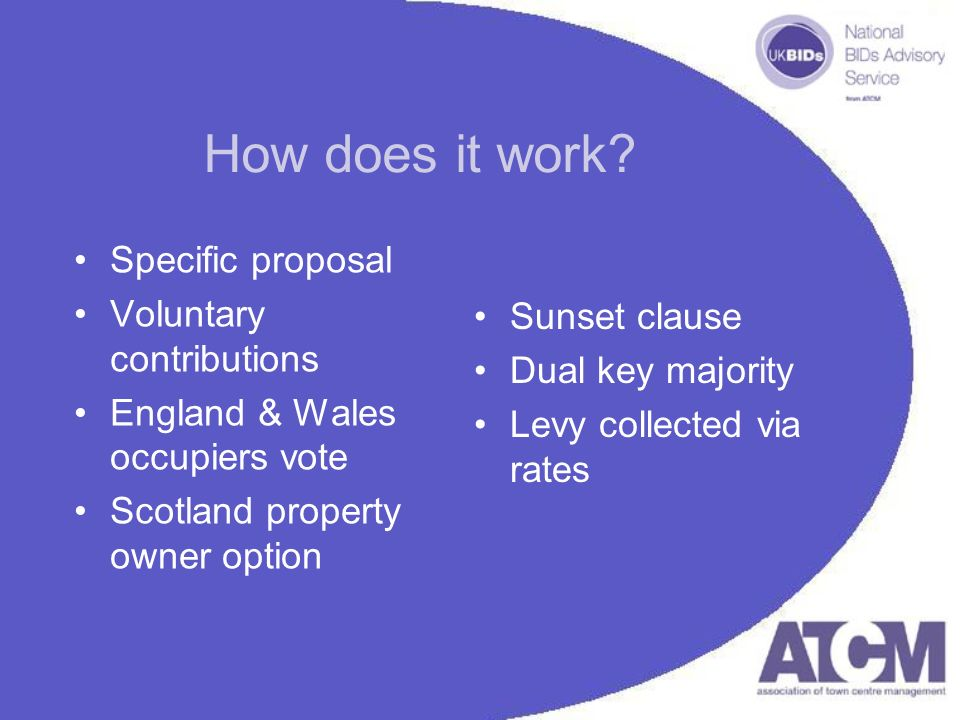 How does it work? Specific proposal Voluntary contributions England & Wales occupiers vote Scotland property owner option Sunset clause Dual key major