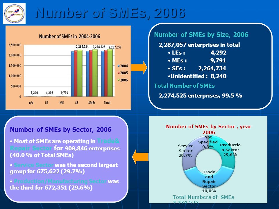 10 Number of SMEs, 2006 Number of SMEs by Size, 2006 2,287,057 enterprises in total LEs : 4,292 MEs : 9,791 SEs : 2,264,734 Unidentified : 8,240 Total