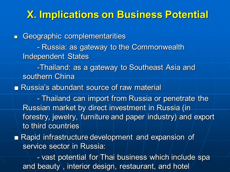 X. Implications on Business Potential Geographic complementarities Geographic complementarities - Russia: as gateway to the Commonwealth Independent S