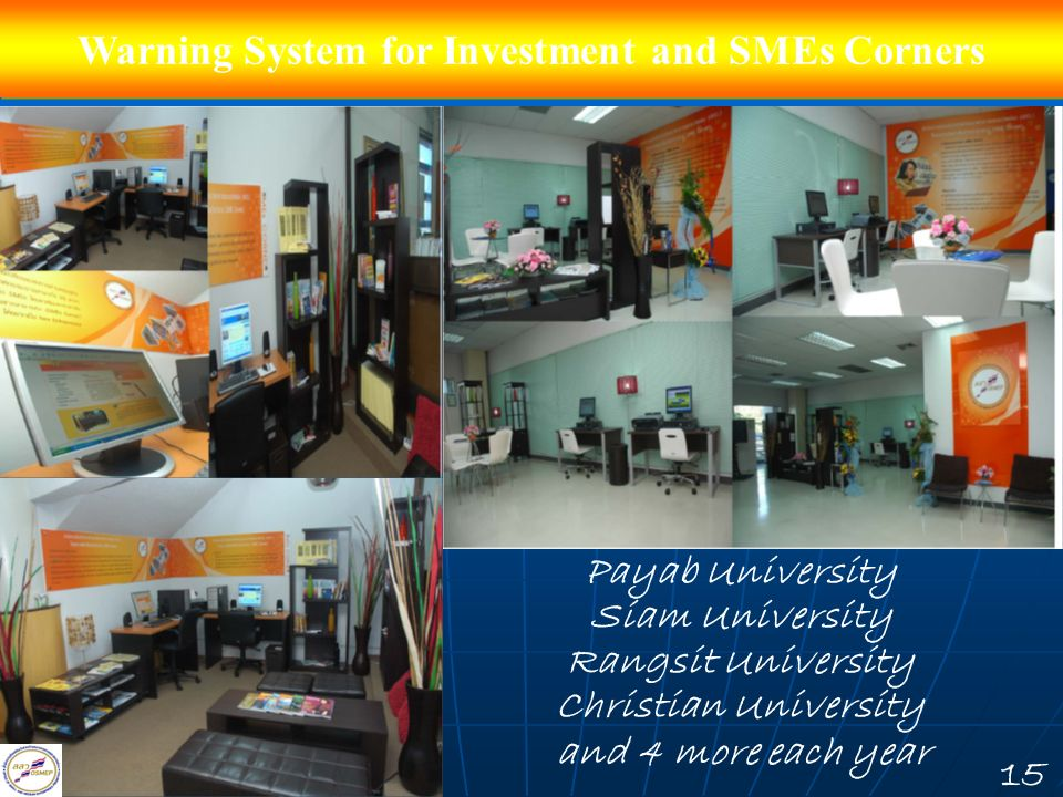 Warning System for Investment and SMEs Corners Payab University Siam University Rangsit University Christian University and 4 more each year 15