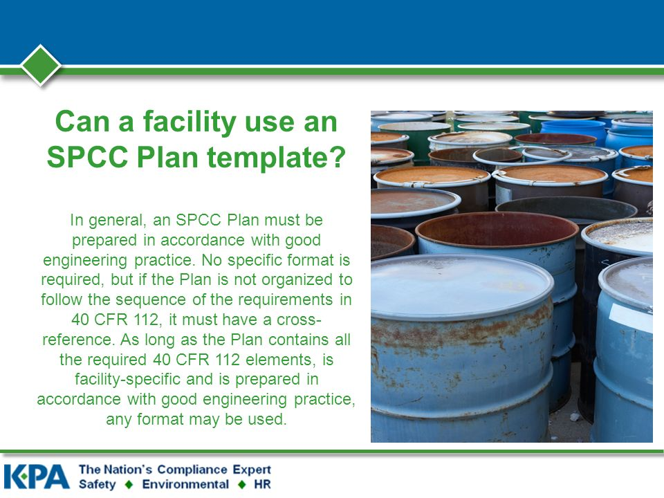 Can a facility use an SPCC Plan template.
