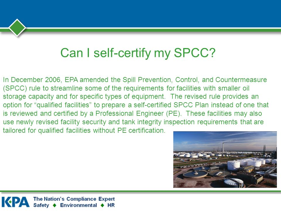 Can I self-certify my SPCC.