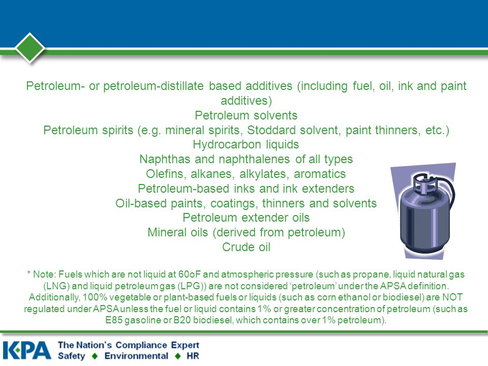 Petroleum- or petroleum-distillate based additives (including fuel, oil, ink and paint additives) Petroleum solvents Petroleum spirits (e.g.