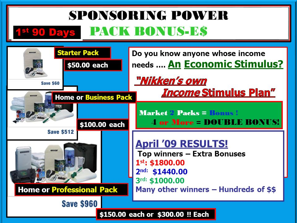 SPONSORING POWER PACK BONUS-E$ $50.00 each Starter Pack Home or Professional Pack Home or Business Pack $100.00 each 1 st 90 Days Market 2 Packs = Bonus .