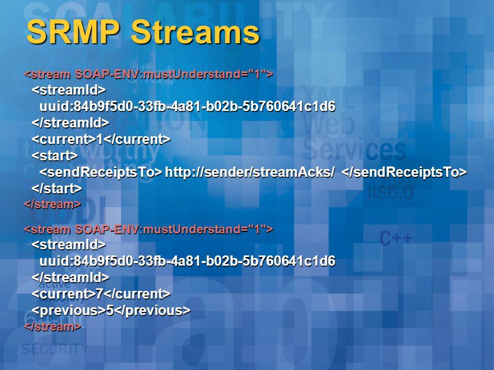 SRMP Streams uuid:84b9f5d0-33fb-4a81-b02b-5b760641c1d6 uuid:84b9f5d0-33fb-4a81-b02b-5b760641c1d6 1 1 http://sender/streamAcks/ http://sender/streamAcks/ </stream> uuid:84b9f5d0-33fb-4a81-b02b-5b760641c1d6 uuid:84b9f5d0-33fb-4a81-b02b-5b760641c1d6 7 7 5 5 </stream>