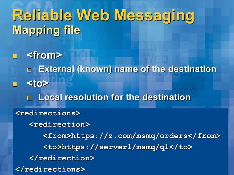 Reliable Web Messaging Mapping file External (known) name of the destination External (known) name of the destination Local resolution for the destina