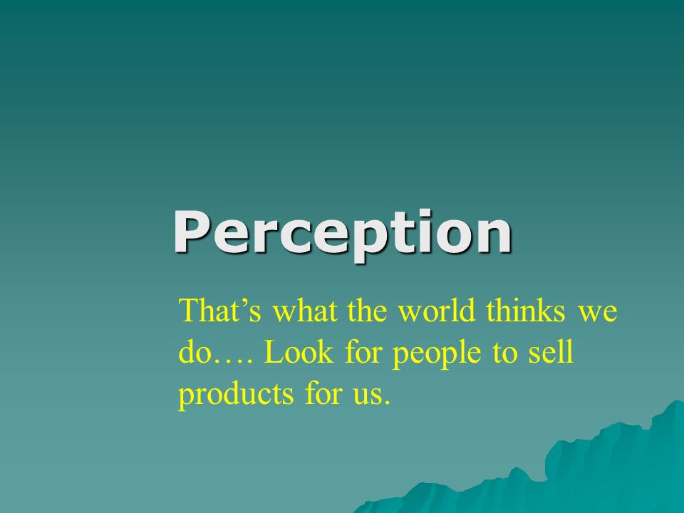 Perception Thats what the world thinks we do…. Look for people to sell products for us.