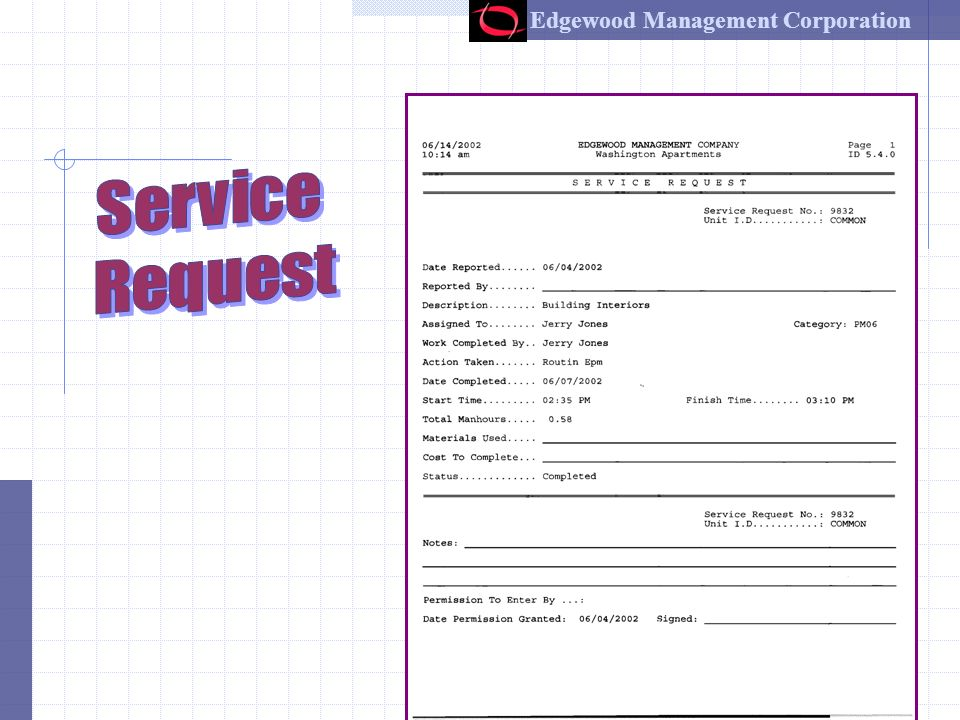 Edgewood Management Corporation 11 Work Inside the Unit Document start time Perform the repairs Describe work performed Document completion time Important –always leave bottom of work order in unit for resident