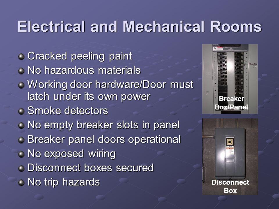 Electrical and Mechanical Rooms Cracked peeling paint No hazardous materials Working door hardware/Door must latch under its own power Smoke detectors
