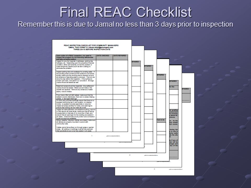 Final REAC Checklist Remember this is due to Jamal no less than 3 days prior to inspection
