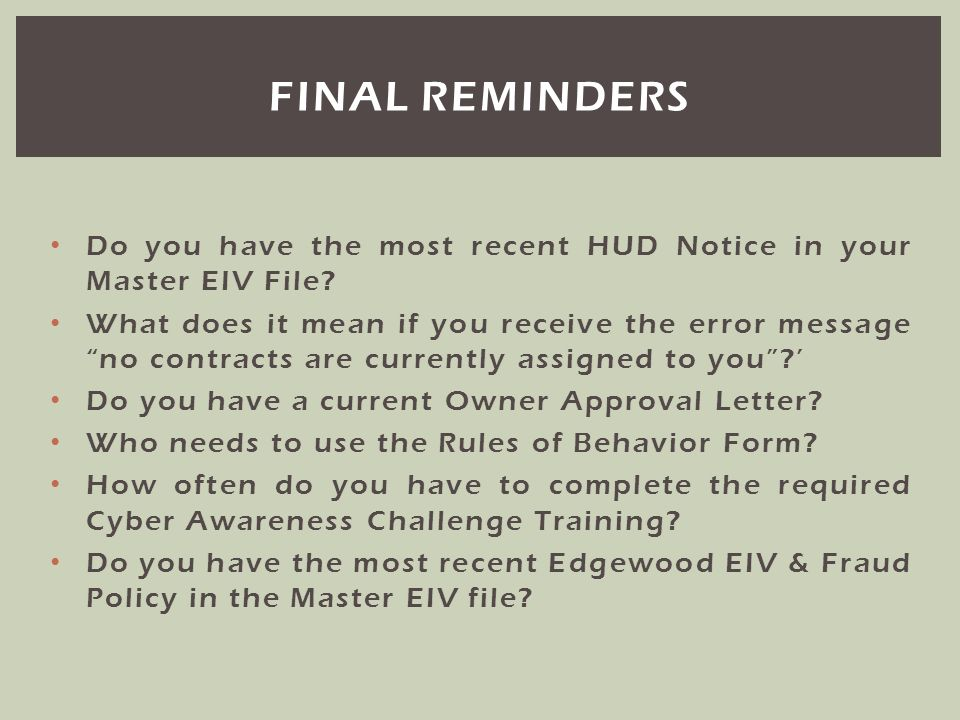 Do you have the most recent HUD Notice in your Master EIV File? What does it mean if you receive the error message no contracts are currently assigned