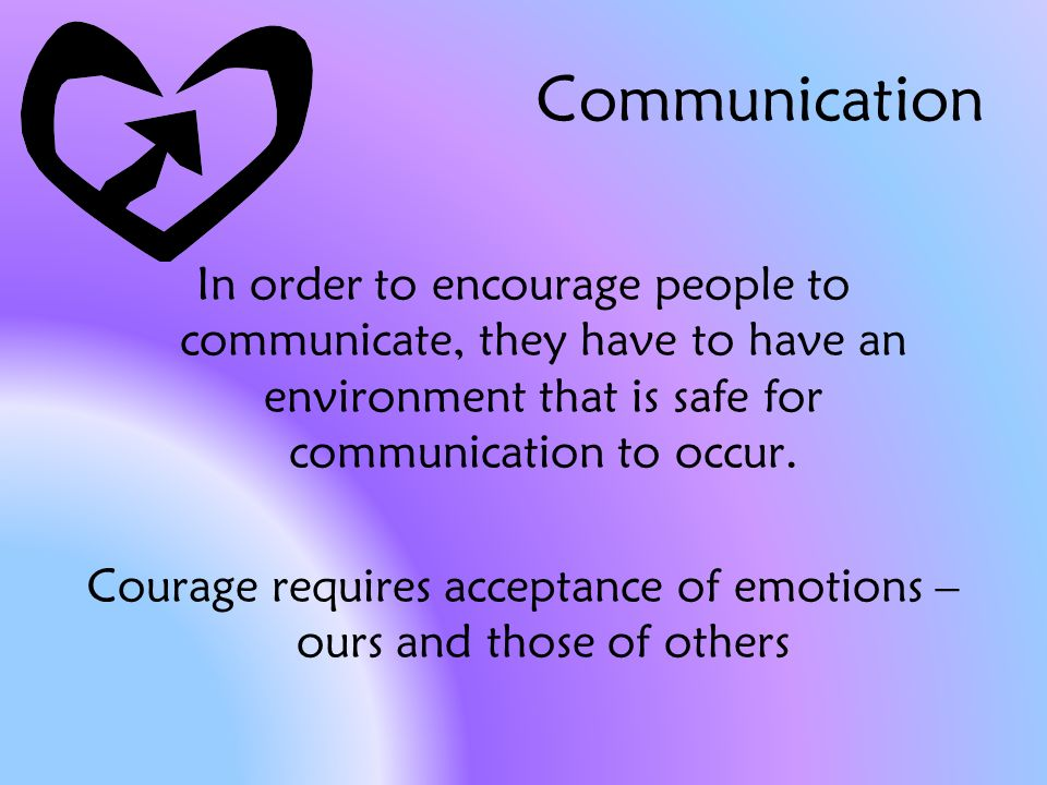 Communication In order to encourage people to communicate, they have to have an environment that is safe for communication to occur.