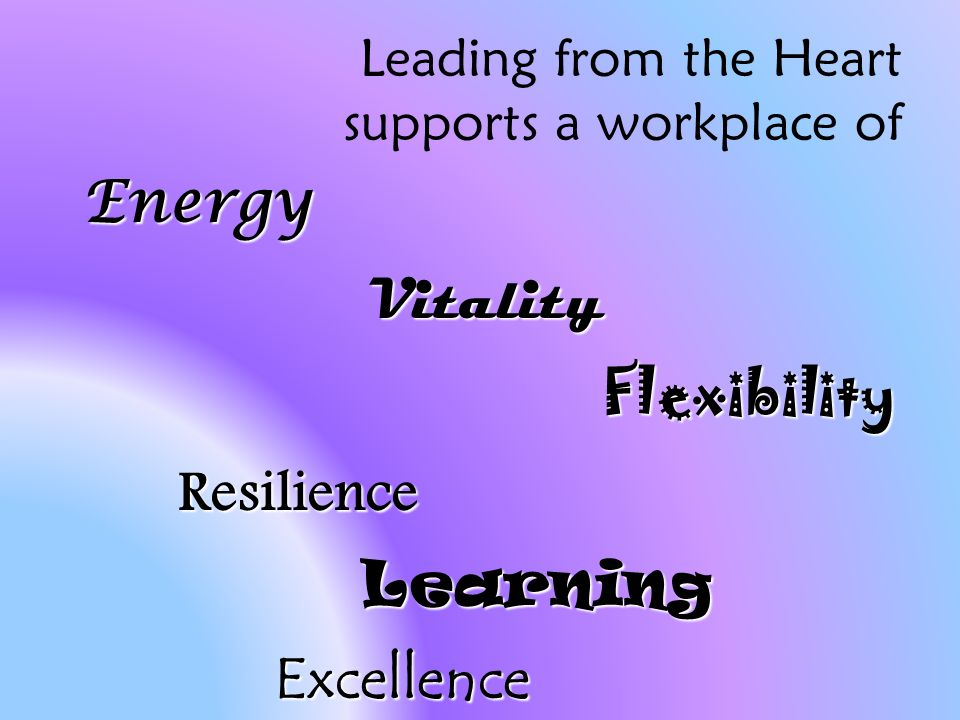 Leading from the Heart supports a workplace of EnergyVitalityFlexibilityResilienceLearningExcellence