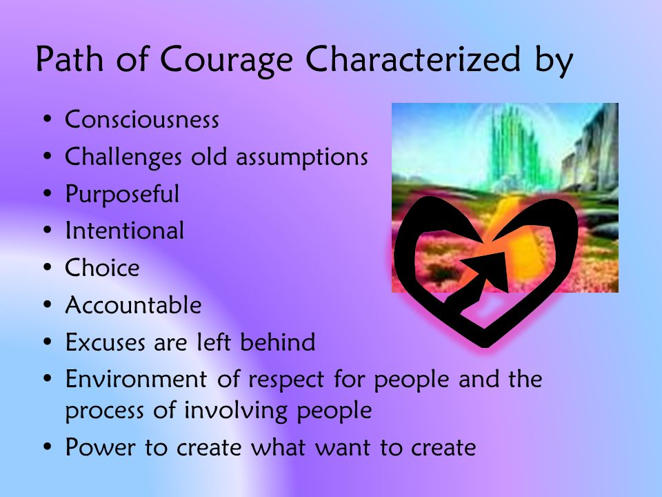 Path of Courage Characterized by Consciousness Challenges old assumptions Purposeful Intentional Choice Accountable Excuses are left behind Environment of respect for people and the process of involving people Power to create what want to create