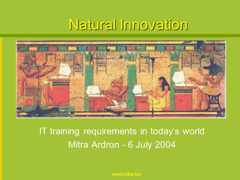 www.mitra.biz Natural Innovation IT training requirements in todays world Mitra Ardron - 6 July 2004