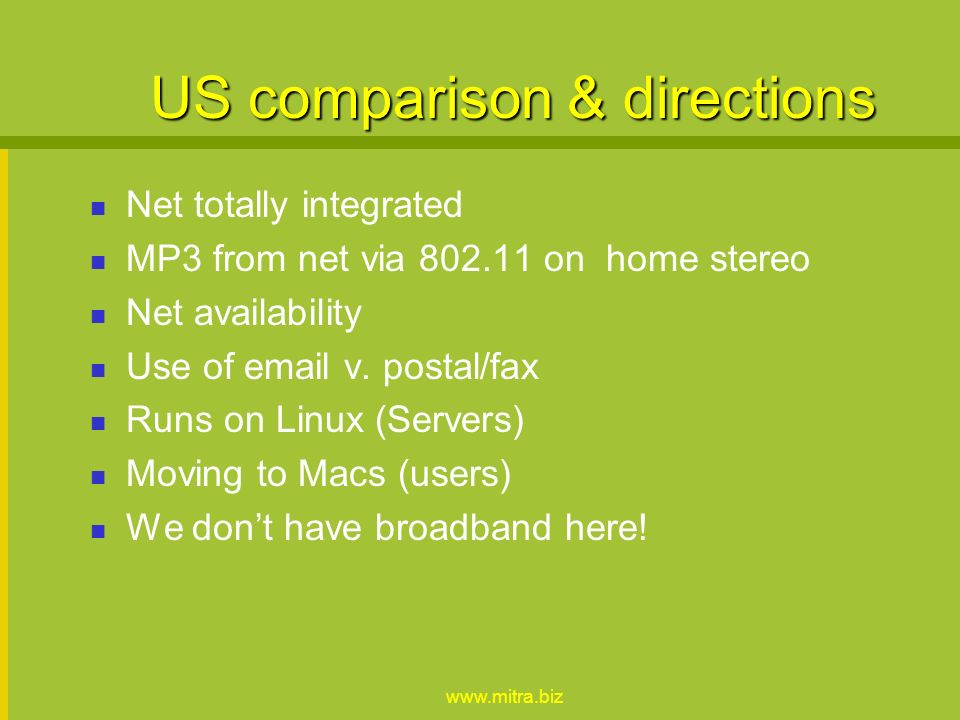 www.mitra.biz US comparison & directions Net totally integrated MP3 from net via 802.11 on home stereo Net availability Use of email v.
