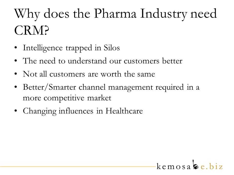 Why does the Pharma Industry need CRM.