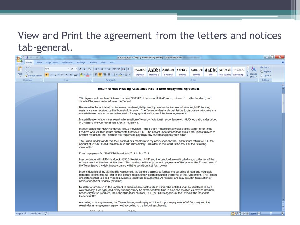 View and Print the agreement from the letters and notices tab-general.