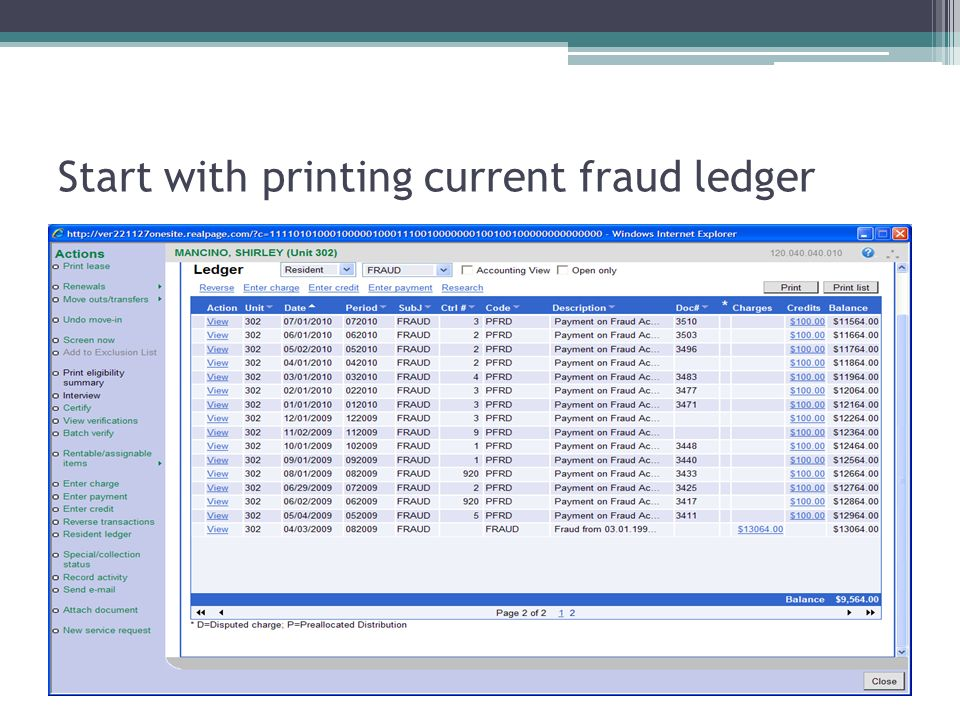 Start with printing current fraud ledger