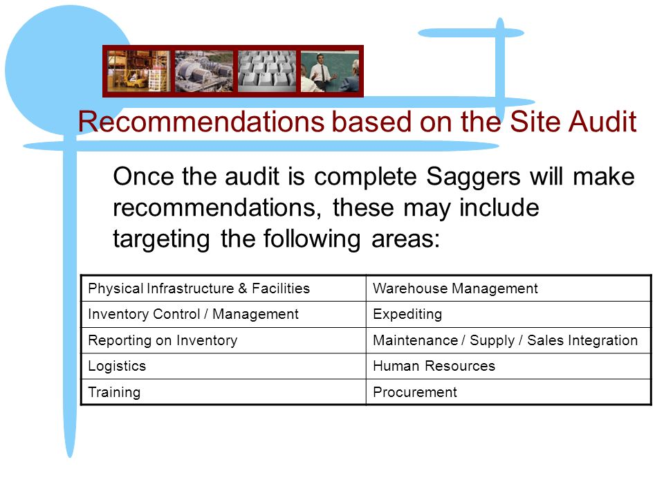 Recommendations based on the Site Audit Once the audit is complete Saggers will make recommendations, these may include targeting the following areas: Physical Infrastructure & FacilitiesWarehouse Management Inventory Control / ManagementExpediting Reporting on InventoryMaintenance / Supply / Sales Integration LogisticsHuman Resources TrainingProcurement