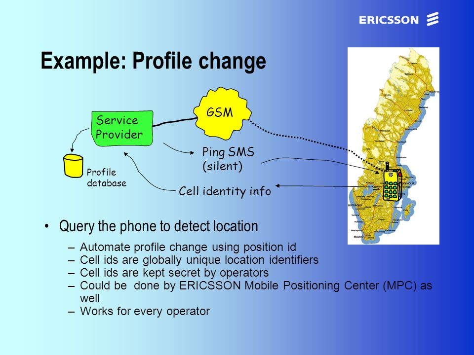 xxxxERICSSON Application Research Example: Profile change Query the phone to detect location –Automate profile change using position id –Cell ids are globally unique location identifiers –Cell ids are kept secret by operators –Could be done by ERICSSON Mobile Positioning Center (MPC) as well –Works for every operator GSM Service Provider Ping SMS (silent) Cell identity info Profile database