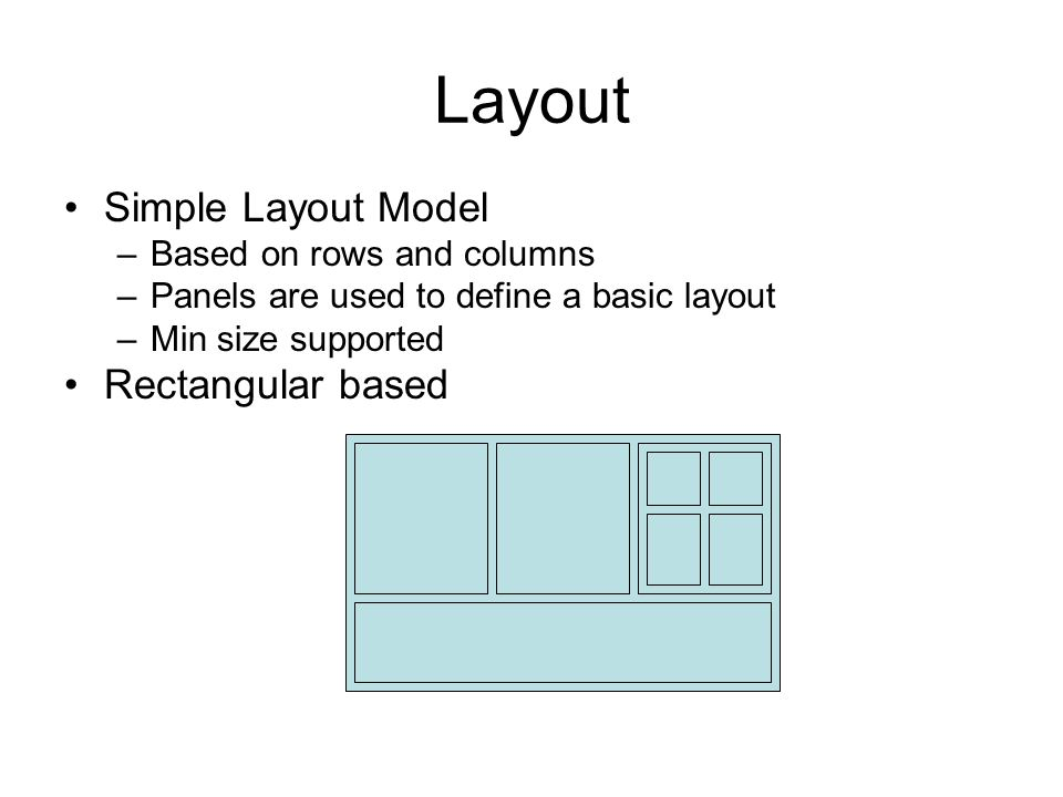 Layout Simple Layout Model –Based on rows and columns –Panels are used to define a basic layout –Min size supported Rectangular based