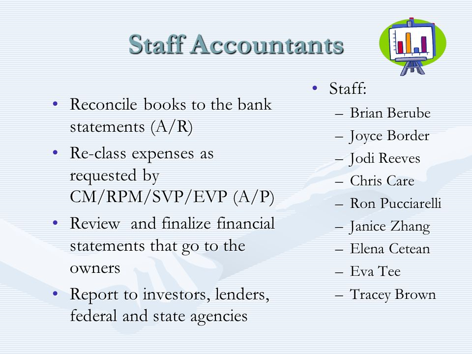 Staff Accountants Reconcile books to the bank statements (A/R)Reconcile books to the bank statements (A/R) Re-class expenses as requested by CM/RPM/SV