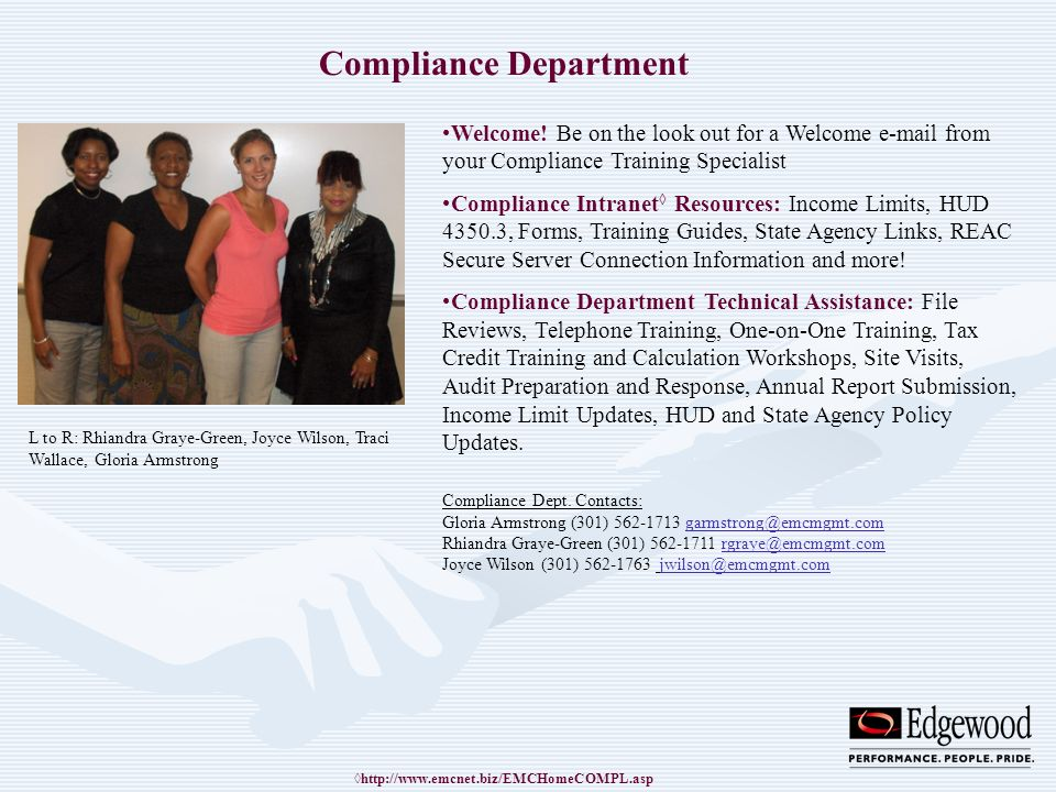 Compliance Department Welcome! Be on the look out for a Welcome e-mail from your Compliance Training Specialist Compliance Intranet Resources: Income