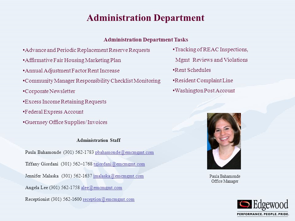 Administration Department Administration Department Tasks Advance and Periodic Replacement Reserve Requests Affirmative Fair Housing Marketing Plan An