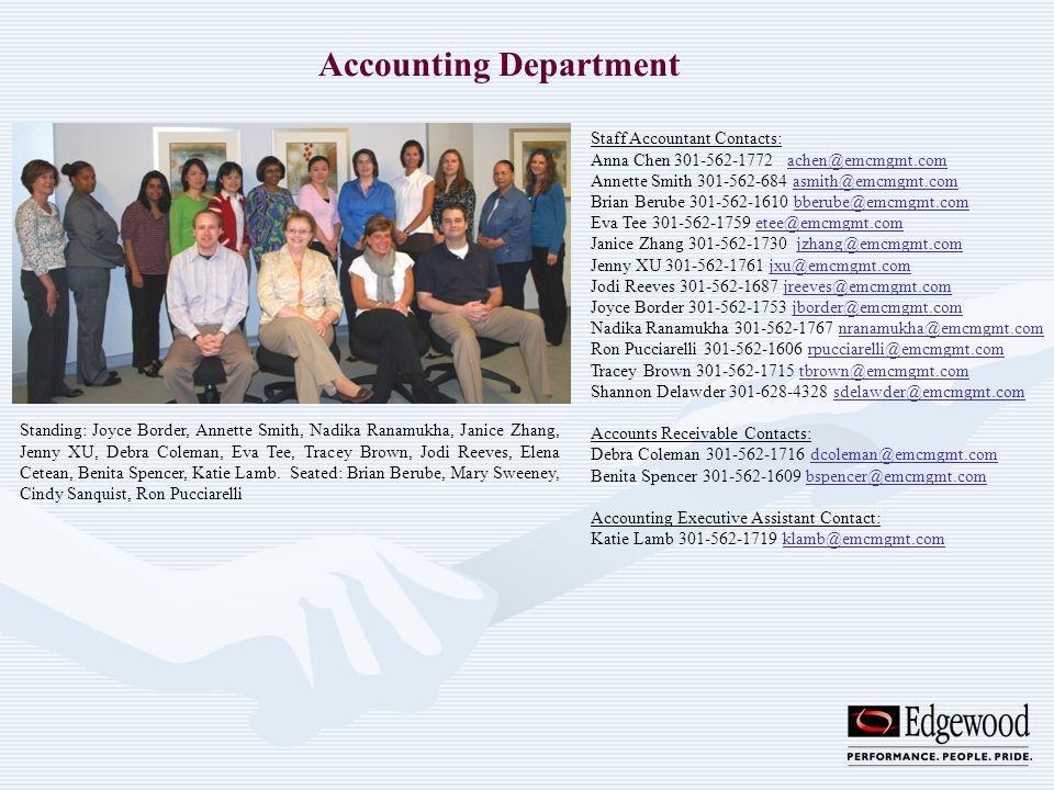 Accounting Department Standing: Joyce Border, Annette Smith, Nadika Ranamukha, Janice Zhang, Jenny XU, Debra Coleman, Eva Tee, Tracey Brown, Jodi Reev
