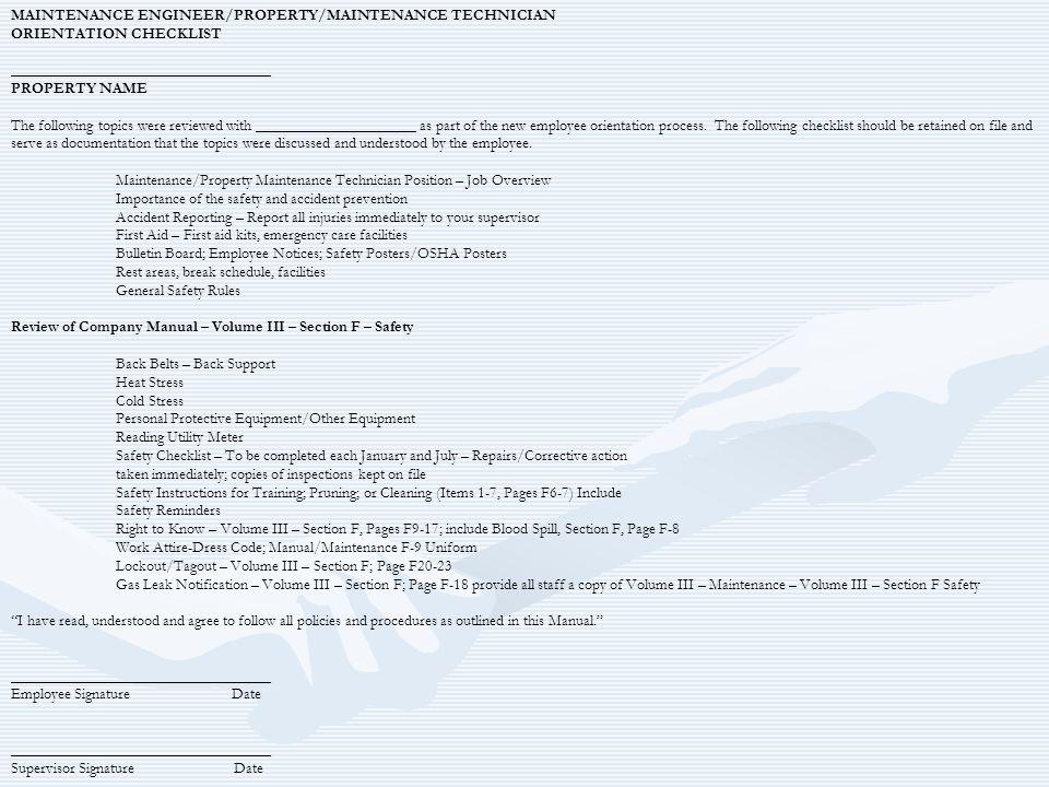 MAINTENANCE ENGINEER/PROPERTY/MAINTENANCE TECHNICIAN ORIENTATION CHECKLIST __________________________________ PROPERTY NAME The following topics were