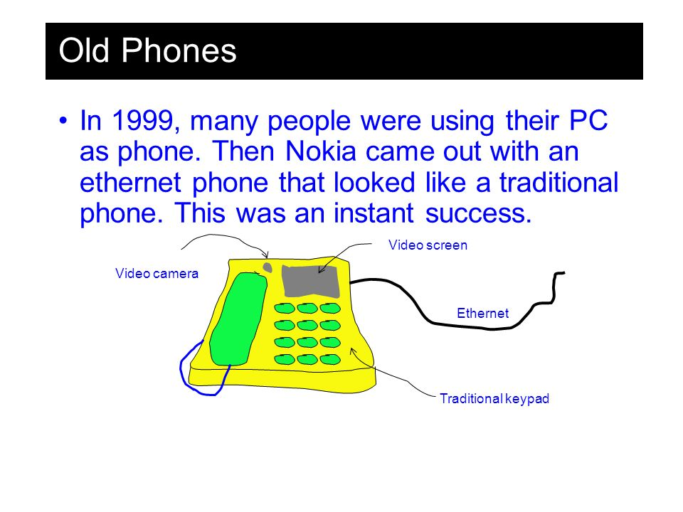 Old Phones In 1999, many people were using their PC as phone.