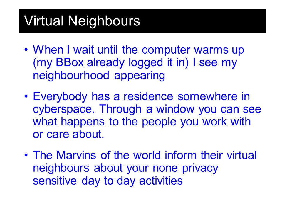 Virtual Neighbours When I wait until the computer warms up (my BBox already logged it in) I see my neighbourhood appearing Everybody has a residence somewhere in cyberspace.