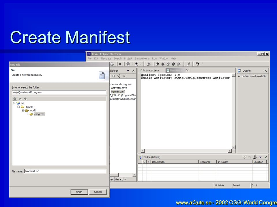 www.aQute.se - 2002 OSGi World Congress - 15 Create Manifest