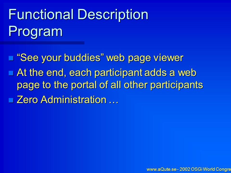 www.aQute.se - 2002 OSGi World Congress - 33 Create an HTML file