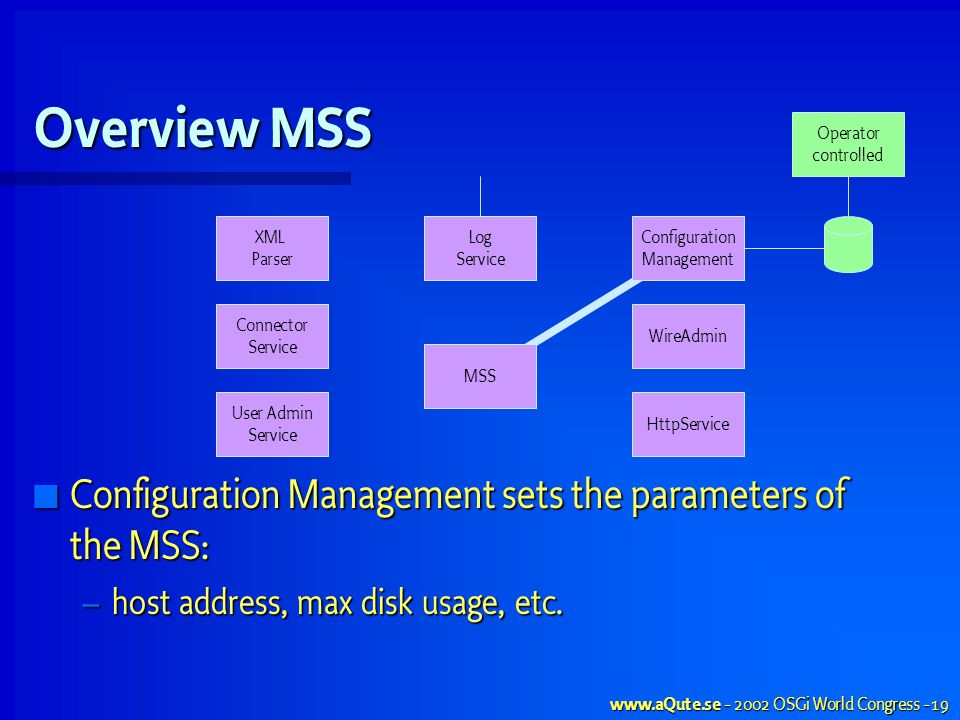 OSGi World Congress - 19 Overview MSS HttpService WireAdmin MSS User Admin Service Configuration Management sets the parameters of the MSS: Configuration Management sets the parameters of the MSS: – host address, max disk usage, etc.