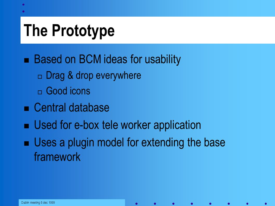 Dublin meeting 6 dec 1999 The Prototype Based on BCM ideas for usability Drag & drop everywhere Good icons Central database Used for e-box tele worker application Uses a plugin model for extending the base framework