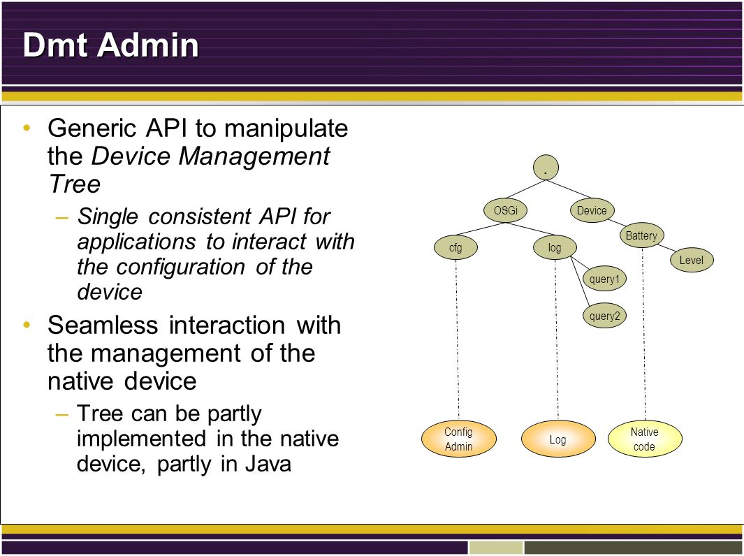 Dmt Admin Generic API to manipulate the Device Management TreeGeneric API to manipulate the Device Management Tree –Single consistent API for applications to interact with the configuration of the device Seamless interaction with the management of the native deviceSeamless interaction with the management of the native device –Tree can be partly implemented in the native device, partly in Java.