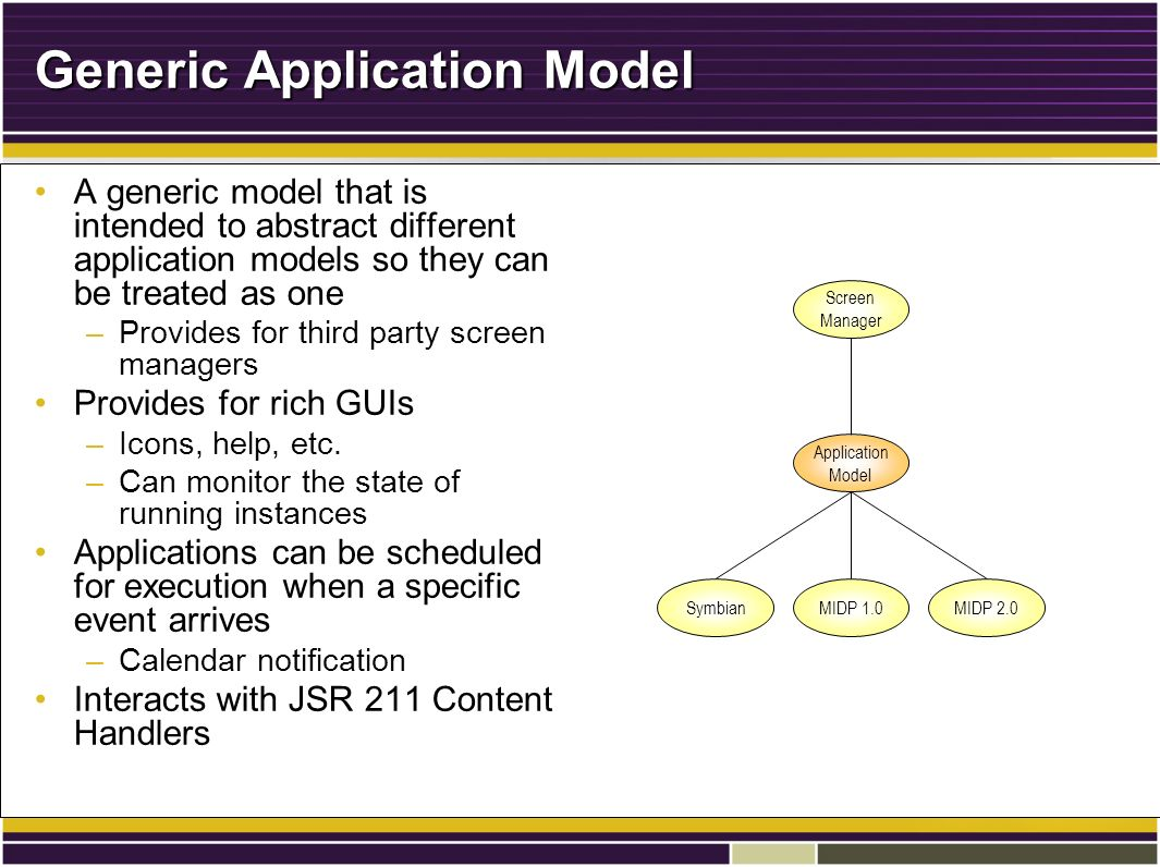 Generic Application Model A generic model that is intended to abstract different application models so they can be treated as oneA generic model that is intended to abstract different application models so they can be treated as one –Provides for third party screen managers Provides for rich GUIsProvides for rich GUIs –Icons, help, etc.
