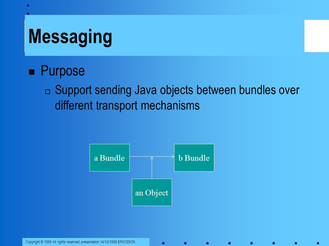 Copyright © 1999 All rights reserved presentation 14/12/1999 ERICSSON Messaging Purpose Support sending Java objects between bundles over different transport mechanisms a Bundleb Bundle an Object