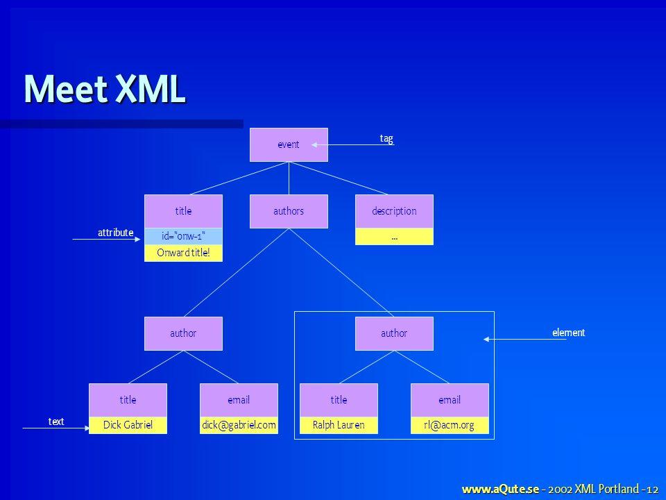 www.aQute.se - 2002 XML Portland - 12 Meet XML event titleauthorsdescription author titleemail author titleemail id= onw-1 ...