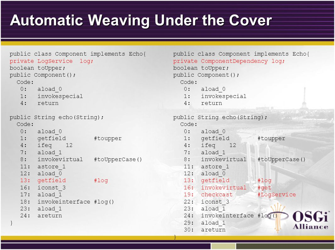 Automatic Weaving Under the Cover public class Component implements Echo{ private LogService log; boolean toUpper; public Component(); Code: 0: aload_0 1: invokespecial 4: return public String echo(String); Code: 0: aload_0 1: getfield #toupper 4: ifeq 12 7: aload_1 8: invokevirtual #toUpperCase() 11: astore_1 12: aload_0 13: getfield #log 16: iconst_3 17: aload_1 18: invokeinterface #log() 23: aload_1 24: areturn } public class Component implements Echo{ private ComponentDependency log; boolean toUpper; public Component(); Code: 0: aload_0 1: invokespecial 4: return public String echo(String); Code: 0: aload_0 1: getfield #toupper 4: ifeq 12 7: aload_1 8: invokevirtual #toUpperCase() 11: astore_1 12: aload_0 13: getfield #log 16: invokevirtual #get 19: checkcast #LogService 22: iconst_3 23: aload_1 24: invokeinterface #log() 29: aload_1 30: areturn }